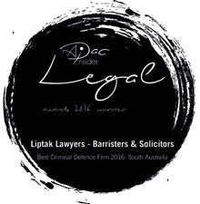 Liptak Lawyers Awarded Best Criminal Lawyer South Australia 2016